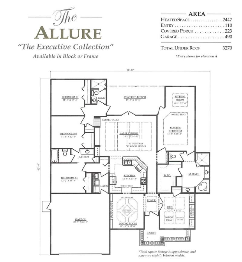 Allure a 4 bedroom 3 bath home in build on your lot a new for Armstrong homes floor plans