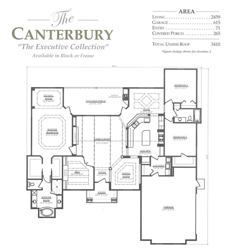 Canterbury a 3 bedroom 2 bath home in build on your lot a Canterbury floor plan