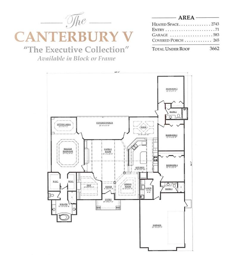 Canterbury v a 4 bedroom 3 bath home in build on your lot Canterbury floor plan