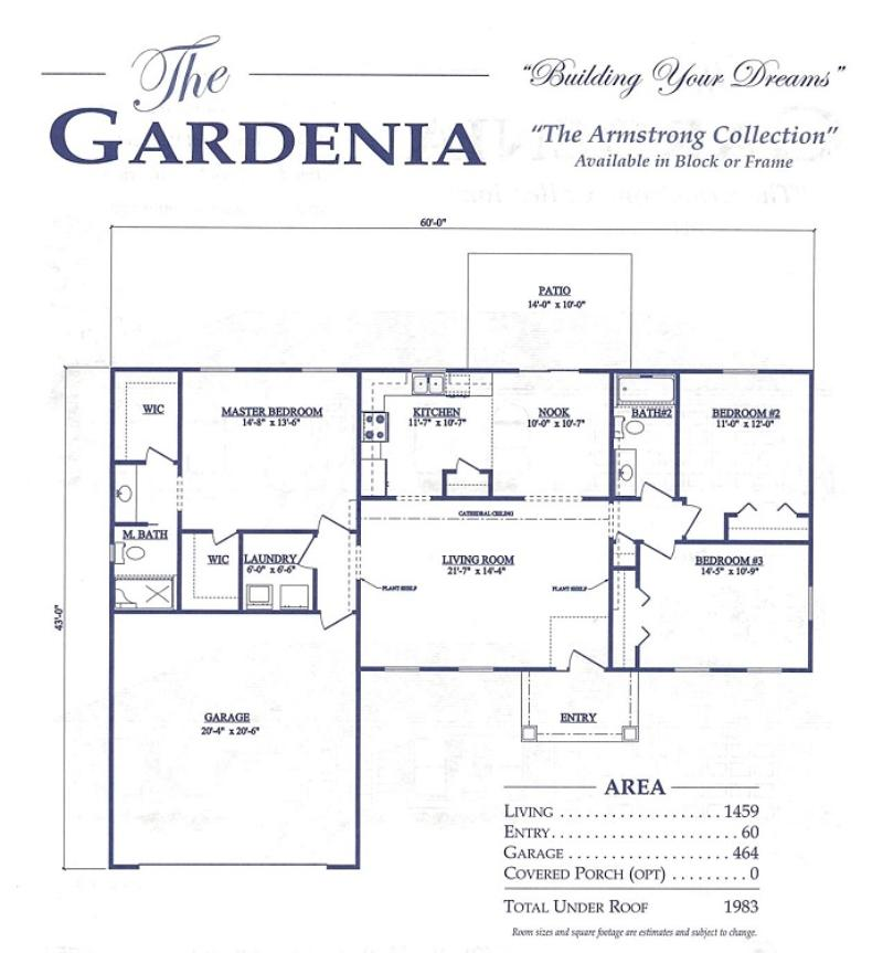 Gardenia a 3 bedroom 2 bath home in build on your lot a for Armstrong homes floor plans