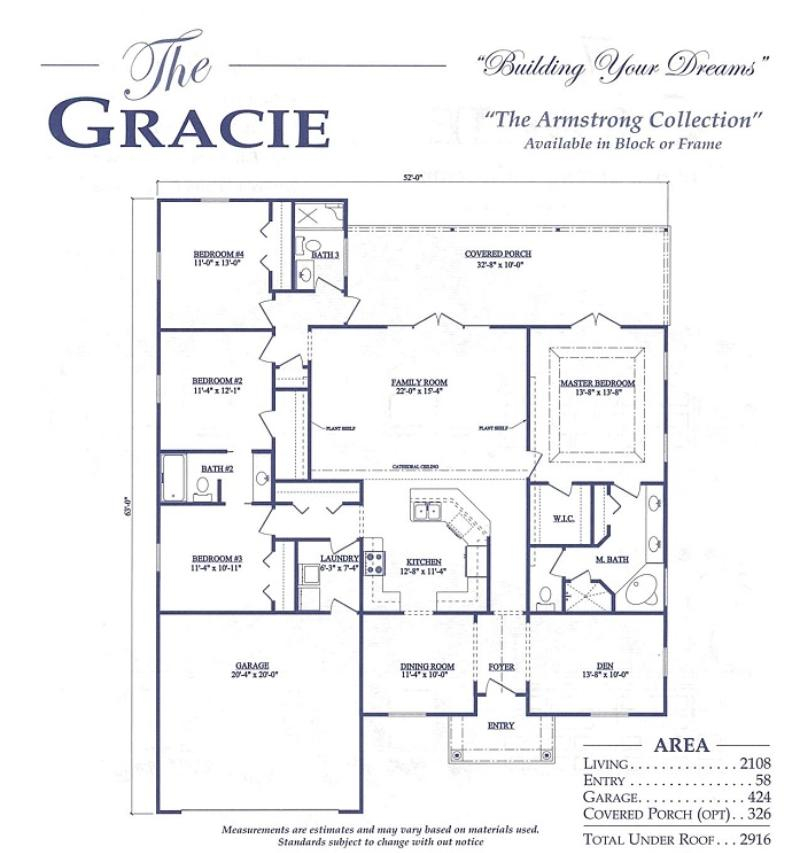 Gracie a 4 bedroom 3 bath home in bellechase the village for Armstrong homes floor plans