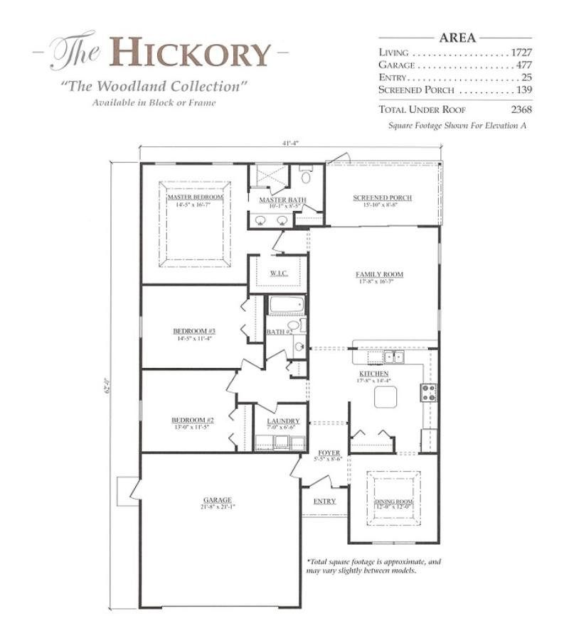 Hickory a 3 bedroom 2 bath home in build on your lot a for Armstrong homes floor plans