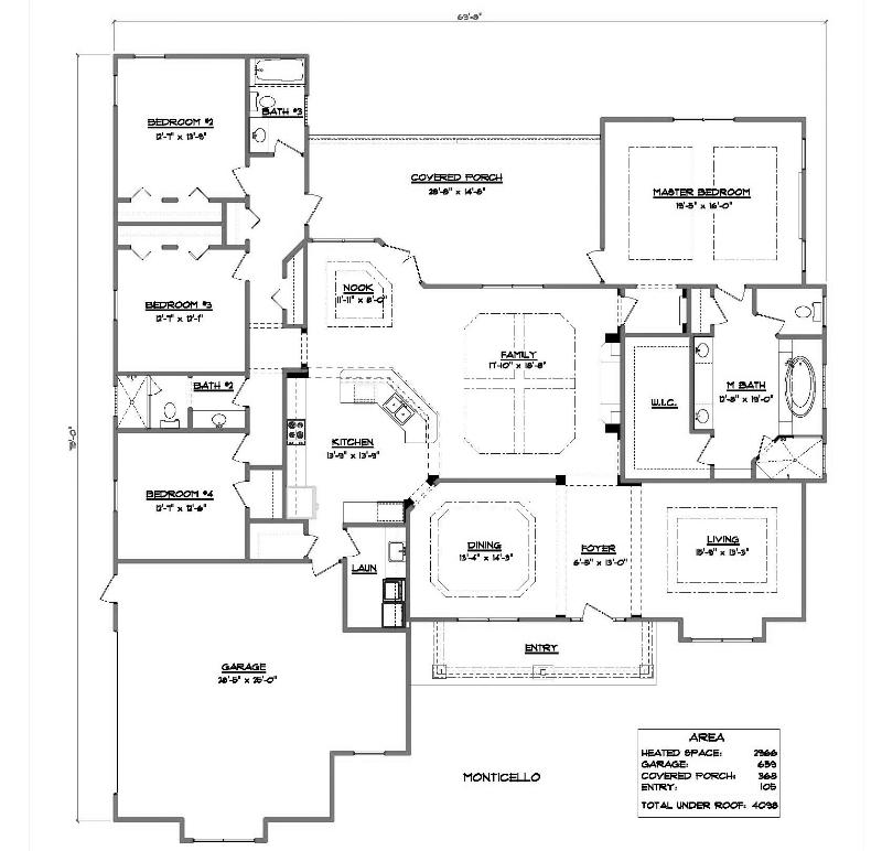 Monticello a 4 bedroom 3 bath home in bellechase the for Monticello floor plan