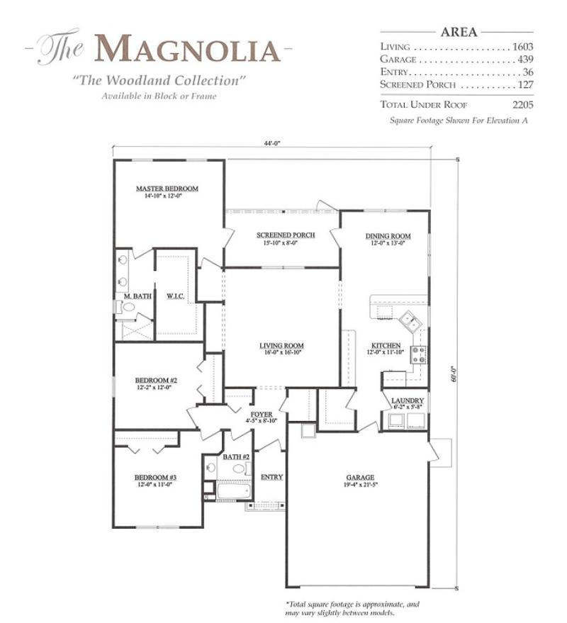 Magnolia A 3 Bedroom 2 Bath Home In Build On Your Lot A