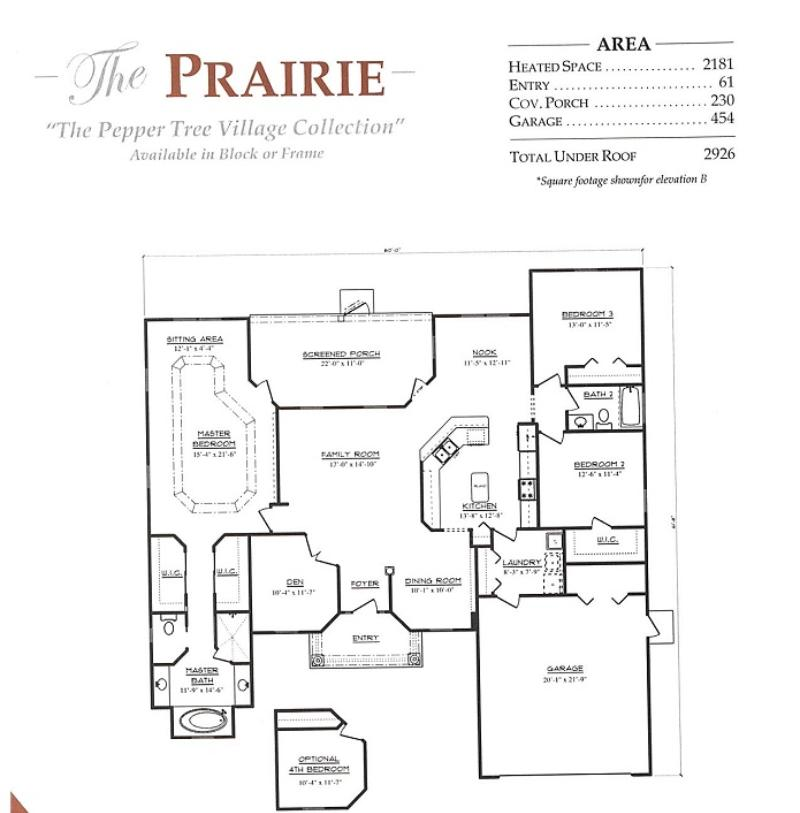 Prairie a 3 bedroom 2 bath home in pepper tree village a for Armstrong homes floor plans