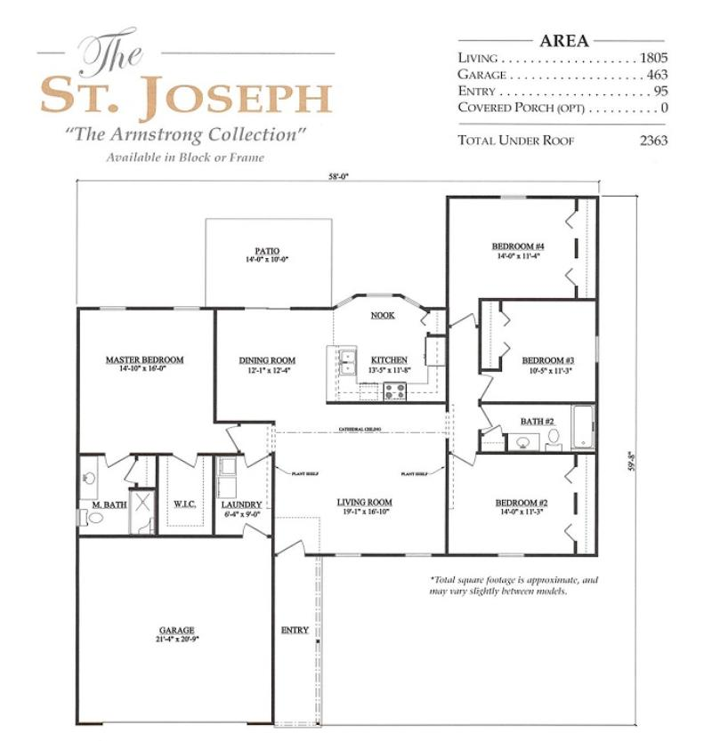 St joseph a 4 bedroom 2 bath home in hills of tuscany a for Armstrong homes floor plans