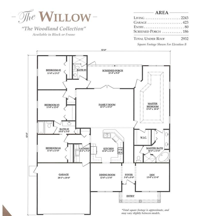 Willow a 4 bedroom 3 bath home in bellechase oak hammock for Armstrong homes floor plans
