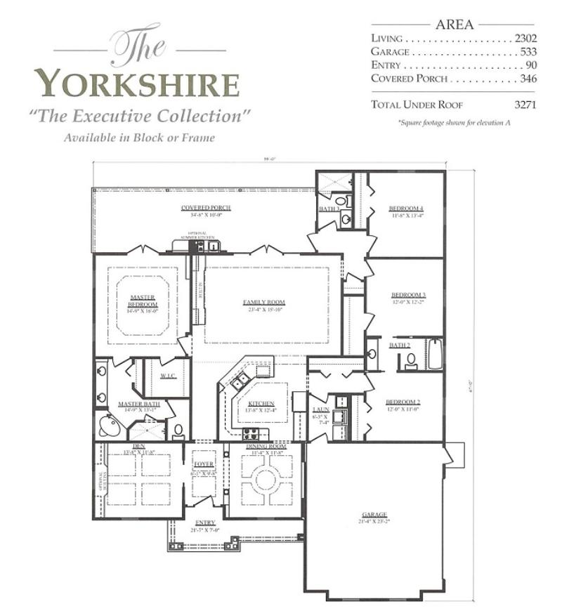 Yorkshire a 4 bedroom 3 bath home in build on your lot a for Armstrong homes floor plans